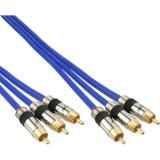 InLine® Cinch Kabel AUDIO/VIDEO, PREMIUM, vergoldete Stecker, 3x Cinch Stecker / Stecker, 10m