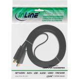 InLine® HDMI Flachkabel, HDMI-High Speed mit Ethernet, verg. Kontakte, schwarz, 7,5m